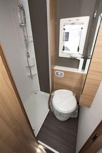 The shower in the washroom in the Adria Coral XL Plus 600 DP motorhome