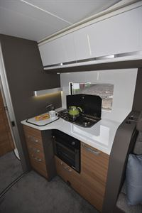 The kitchen in the Adria Matrix Plus 600 DT motorhome