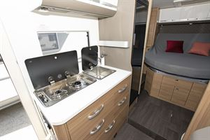 The kitchen in the Adria Matrix Axess 600 SC motorhome