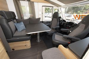 Cab seats facing the lounge in the Adria Sonic Axess 600 SL motorhome