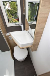The washroom with basin in the Adria Sonic Axess 600 SL motorhome