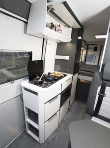 The side kitchen in the Adria Twin Supreme 640 SGX campervan