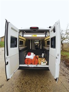 With rear doors open in the Adria Twin Supreme 640 SGX campervan