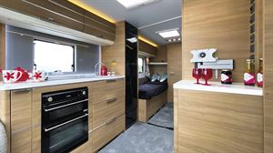 The kitchen in the Adria Adora Seine caravan