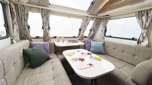 The lounge in the Adria Adora Seine caravan