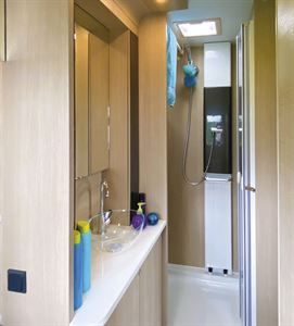 The shower in the Adria Adora Seine caravan