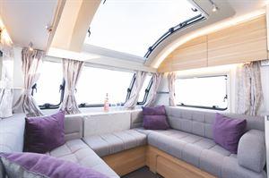 U-shaped seating in the Adria Adora Tiber caravan