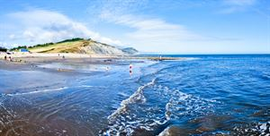 Charmouth beach is nearby