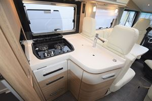 The kitchen in the The Arto 78F motorhome