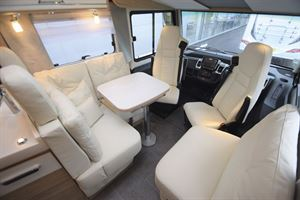 A view of the lounge and cab in the The Arto 78F motorhome