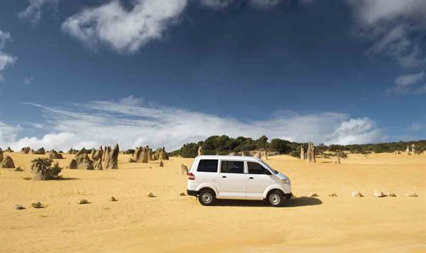 Mike's Suzuki APV campervan - nicknamed Priscilla - at the Pinnacles National Park