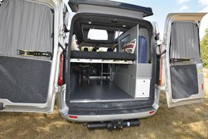 With the rear doors open in the Auto-Campers Day Van Eco-line Series
