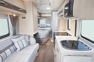 The side kitchen layout in the Auto-Sleeper Kingham campervan