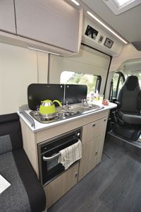 The kitchen in the Auto-Trail Expedition