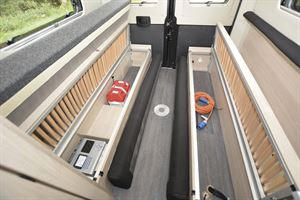 Under seat storage in the Auto-Trail Expedition