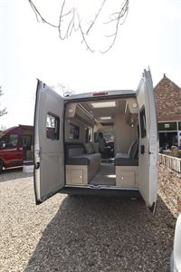 With rear doors of the Auto-Trail Tribute 660 campervan open