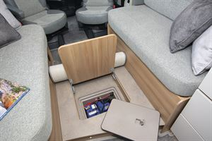 The false floor in the Bailey Autograph 79-2F motorhome, showing leisure battery below
