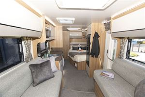 View through the lounge to the rear bedroom in the Bailey Autograph 79-2F motorhome