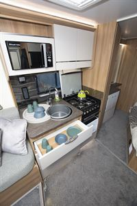The kitchen in the Bailey Autograph 79-2F motorhome