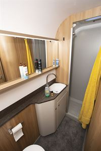 The washroom in the Bailey Autograph 79-2F motorhome