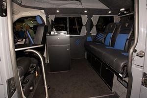 The interior of the Autohaus Exmoor Beast campervan
