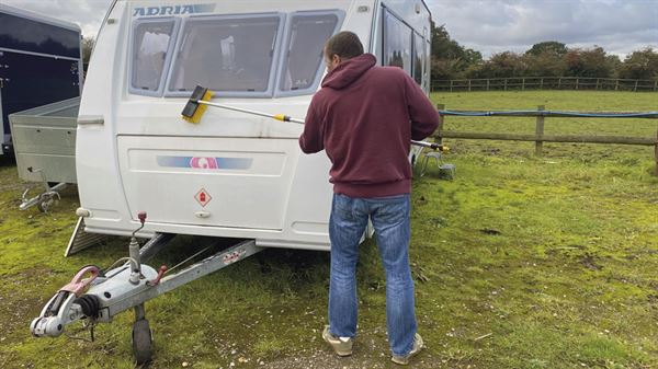 Cleaning caravan bodywork ready for winter
