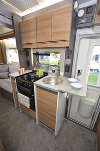 The kitchen in the Bailey Adamo 75-4DL motorhome