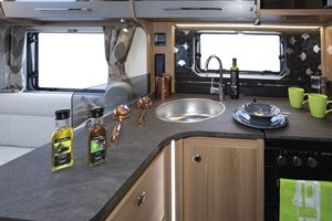 The kitchen in the Bailey Alicanto Grande Faro caravan
