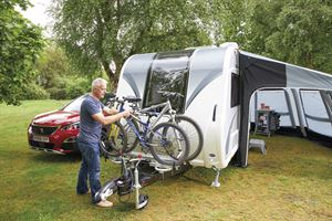 Solutions for carrying a bike on a caravan
