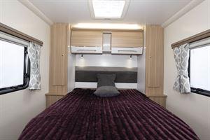 The bedroom in the Bailey Phoenix + 640 caravan