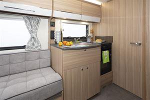 The kitchen in the Bailey Phoenix + 640 caravan