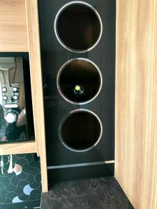 Wine rack for three bottles