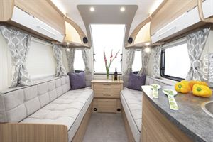 Long settees in the Bailey Phoenix + 640 caravan could double as single beds