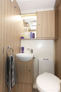 The washroom in the Bailey Phoenix + 640 caravan