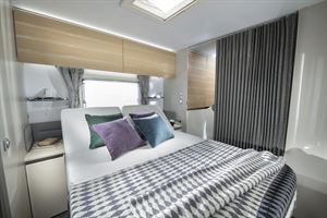 An example of a double bed in a caravan
