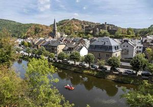 A pedalo drifts along the River Ourthe - picture courtesy of Robin Weaver