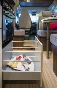 Pull-out storage drawers in the kitchen - picture courtesy of Benimar