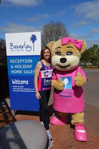 Director Kay Lamsin with mascot Beverley Bear