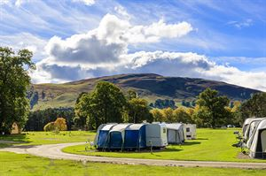 Pitches on Blair Castle Caravan Park with countryside views