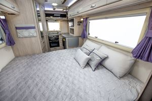 The double bed in the Auto-Sleepers Broadway EK TB LP motorhome