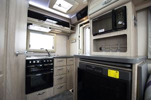The kitchen in the Auto-Sleepers Broadway EK TB LP motorhome