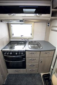 The sink, hob and oven in the Auto-Sleepers Broadway EK TB LP motorhome