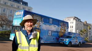 Bluebell, a bus-turned-motorhome, is the mobile home for charity trekker Brian Burnie who is walking 7,000 miles round the coast of Britain and Ireland