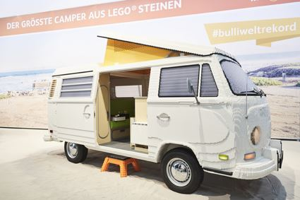 Probably the world`s largest Bulli made out of 400,00 LEGO Bricks will be shown on the exhibitaion f.re.e in Munich. photo credit: f.re.e / Messe München