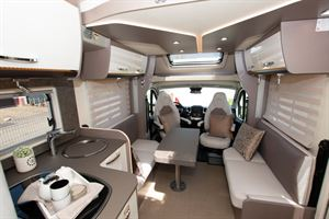 The kitchen, lounge and cab in the The Bürstner Lyseo TD 736 Harmony motorhome