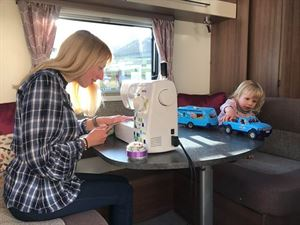 Katy Butler and three-year-old Joules enjoy quality time on their caravan drivecation