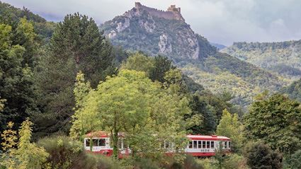 This trip on the Train Rouge is one of the highlights of the Rail Away Pyrenees and Auvergne escorted motorhome tour