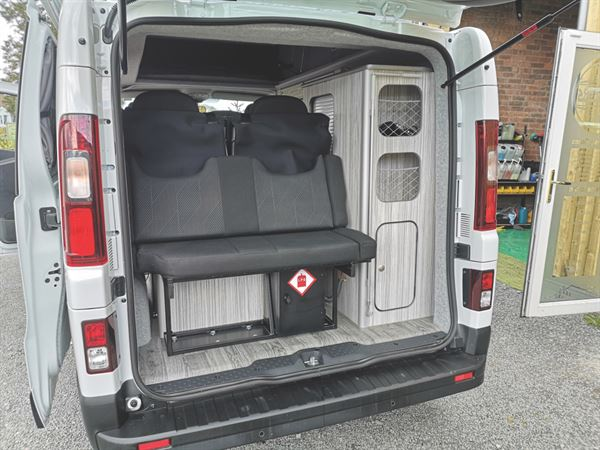 View of the rear of the campervan
