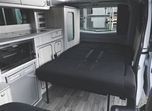 Seats folded down to make the bed