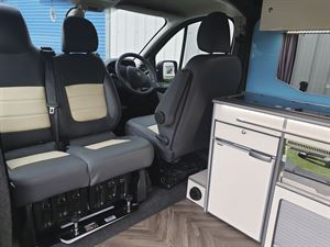 Cab seats in the Calder Campers Renault Trafic Auto campervan